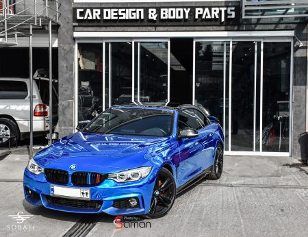 BMW 428i Convertible Blue Chrome Sobati Customs