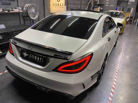 Mercedes Benz CLS500 white satin Sobati Customs